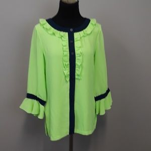 Linea Louis Dell Olio  green ruffled blouse top